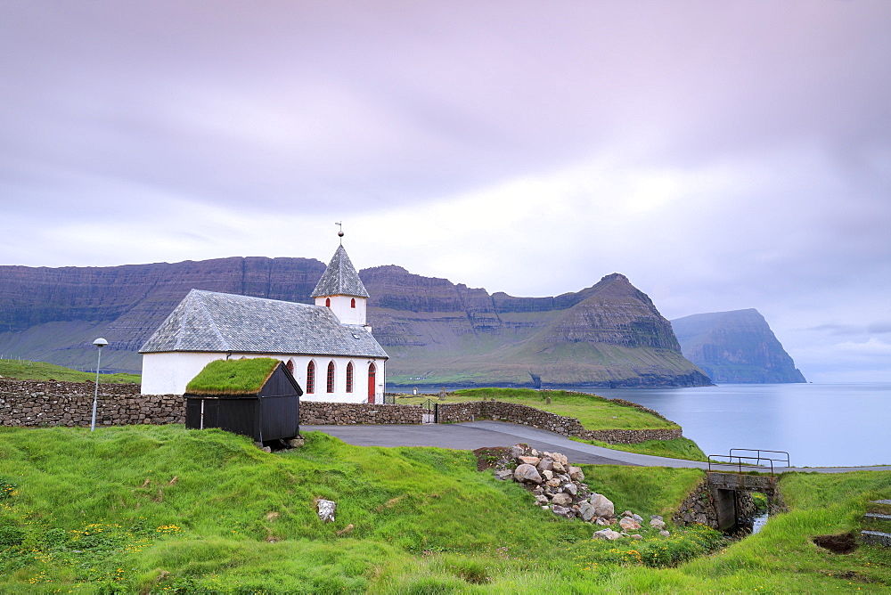 Church of Vidareidi by the sea, Vidoy island, Faroe Islands, Denmark