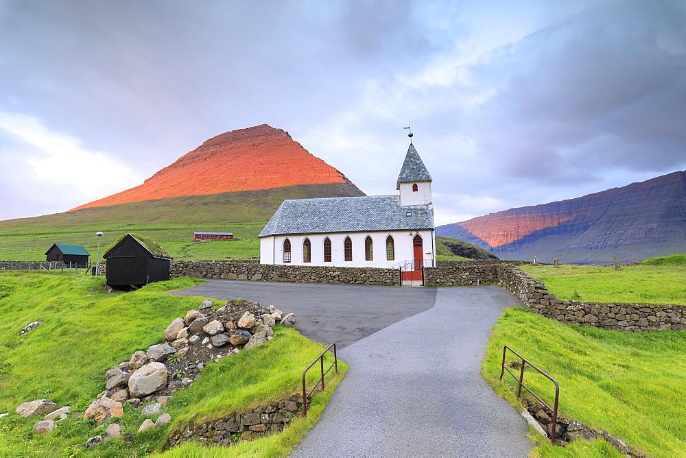 Church of Vidareidi, Vidoy Island, Faroe Islands, Denmark, Europe