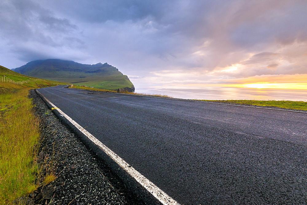 Road to Vidareidi, Vidoy Island, Faroe Islands, Denmark, Europe