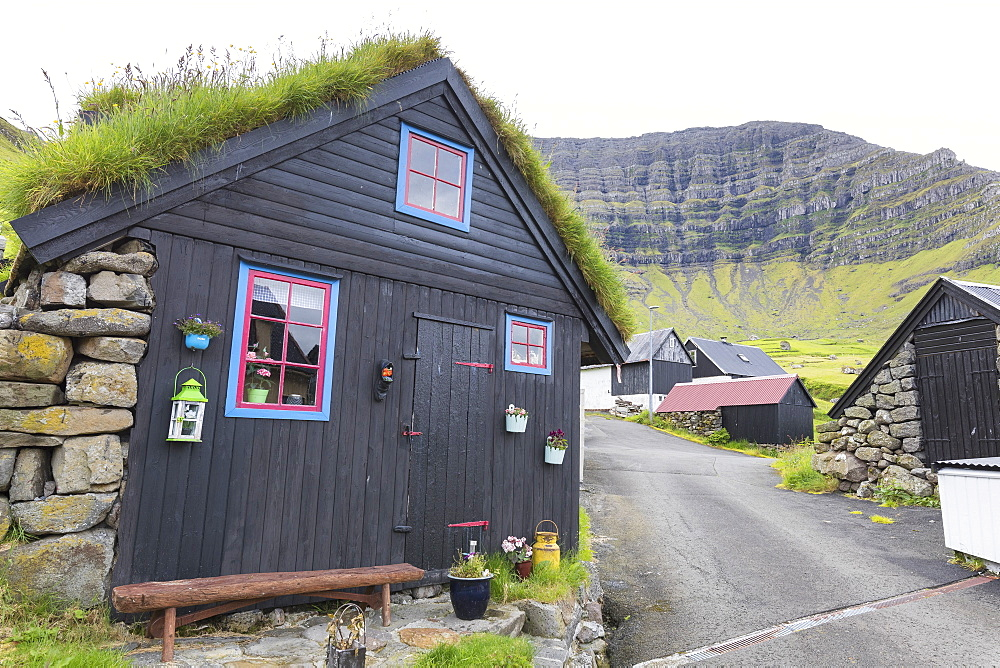 Traditional houses, Kunoy Island, Nordoyar, Faroe Islands, Denmark, Europe