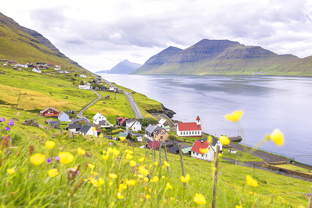 Village by the sea, Kunoy Island, Nordoyar, Faroe Islands, Denmark