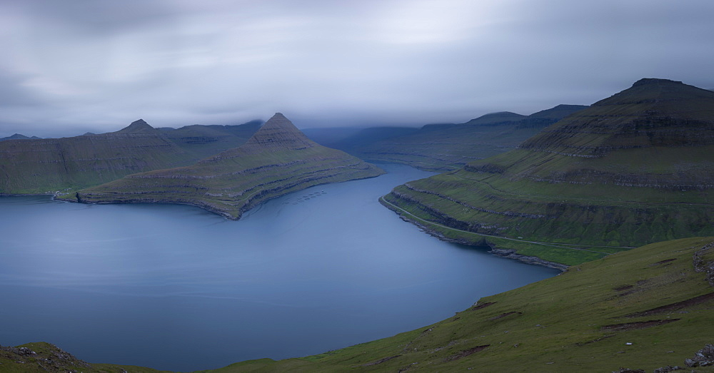 Panoramic of Funningur fjord, Eysturoy Island, Faroe Islands, Denmark, Europe