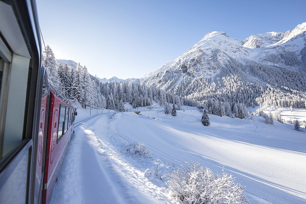 Bernina Express train, Preda Bergun, Albula Valley, Canton of Graubunden, Switzerland, Europe