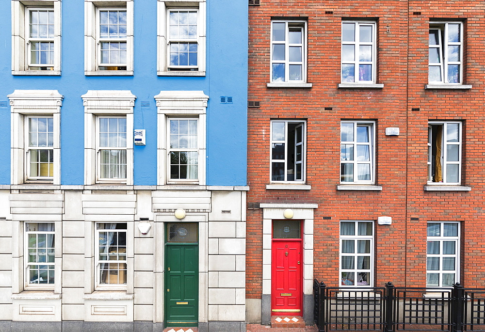 Details of architecture of colorful houses, Dublin, Ireland