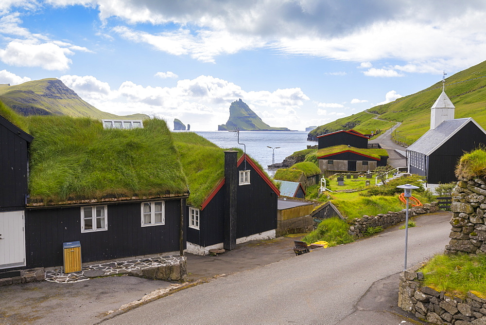 Traditional houses with grass roof, Bour, Vagar Island, Faroe Islands, Denmark, Europe