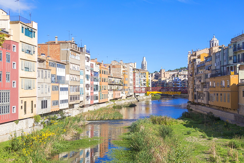 Colorful houses, Girona, Catalonia, Spain, Europe