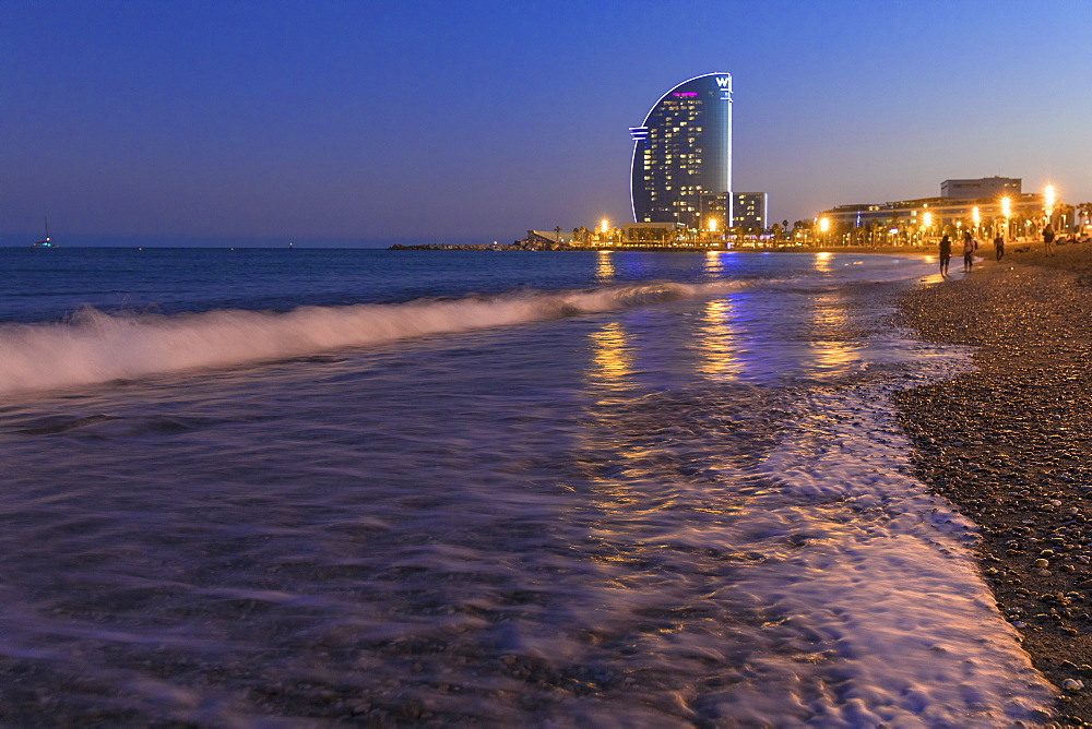 La Barceloneta Beach and the W Barcelona hotel in the background, Barcelona, Catalonia, Spain, Europe