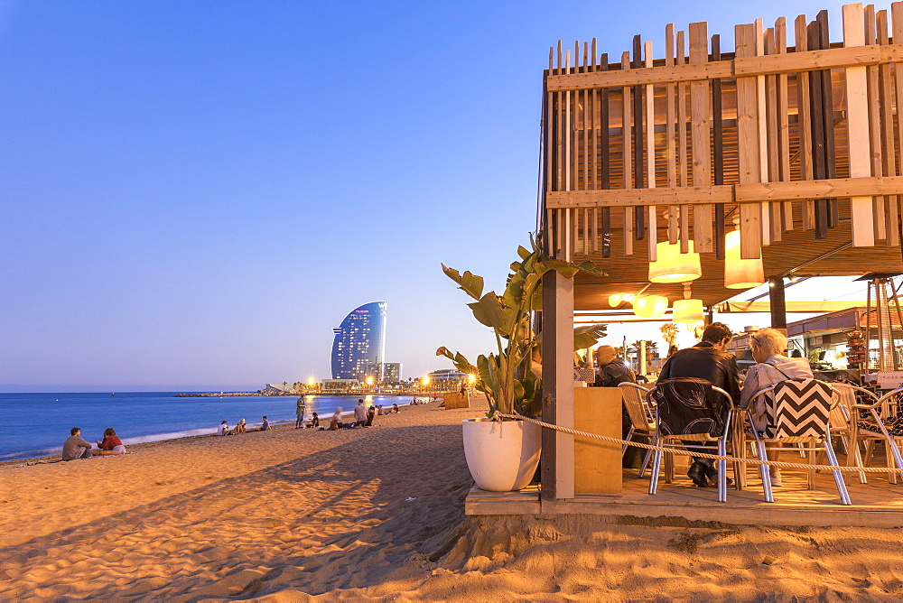 Restaurant on La Barceloneta Beach, Barcelona, Catalonia, Spain, Europe