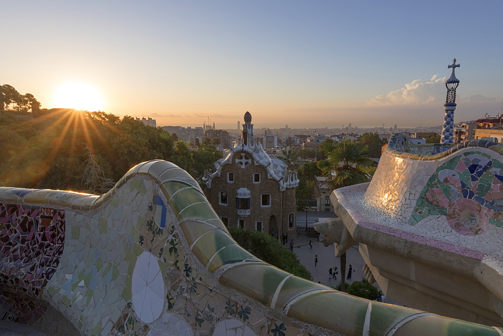 Park Guell at sunrise, UNESCO World Heritage Site, Barcelona, Catalonia, Spain, Europe
