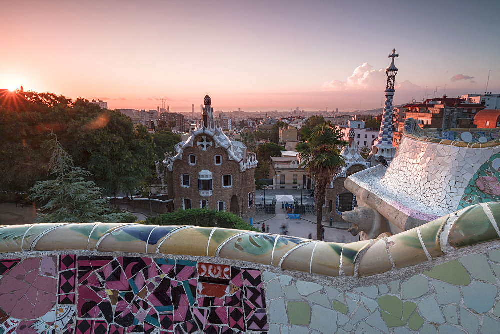 Details of Antoni Gaudi's architecture in Park Guell, UNESCO World Heritage Site, Barcelona, Catalonia, Spain, Europe