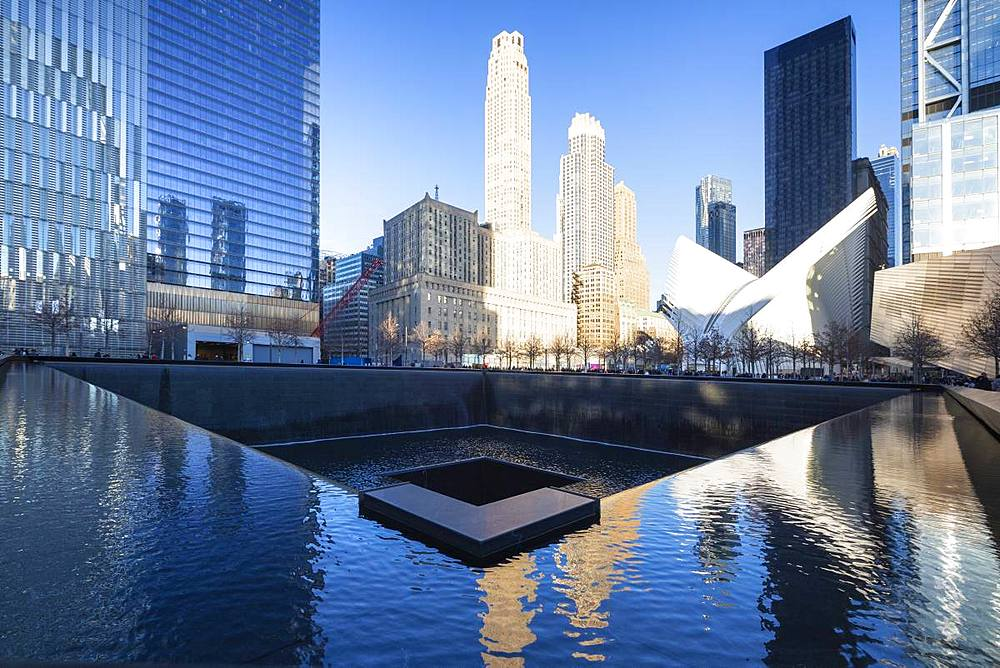 North Pool memorial fountain, Ground Zero, One World Trade Center, Lower Manhattan, New York City, United States of America, North America