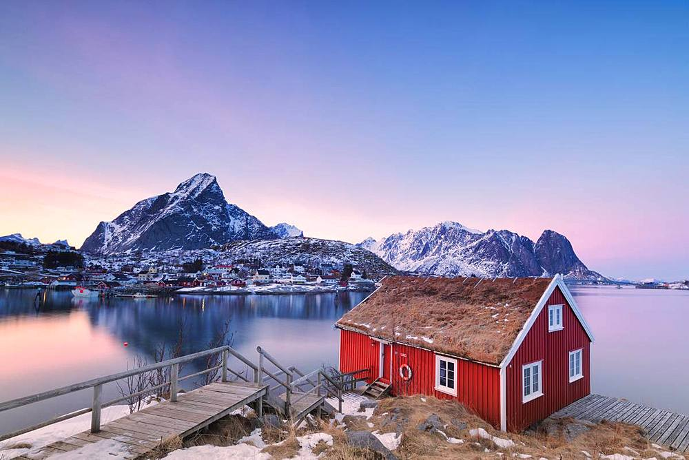Sunset on fishermen's cabin (Rorbu), Reine, Lofoten Islands, Nordland, Norway, Europe