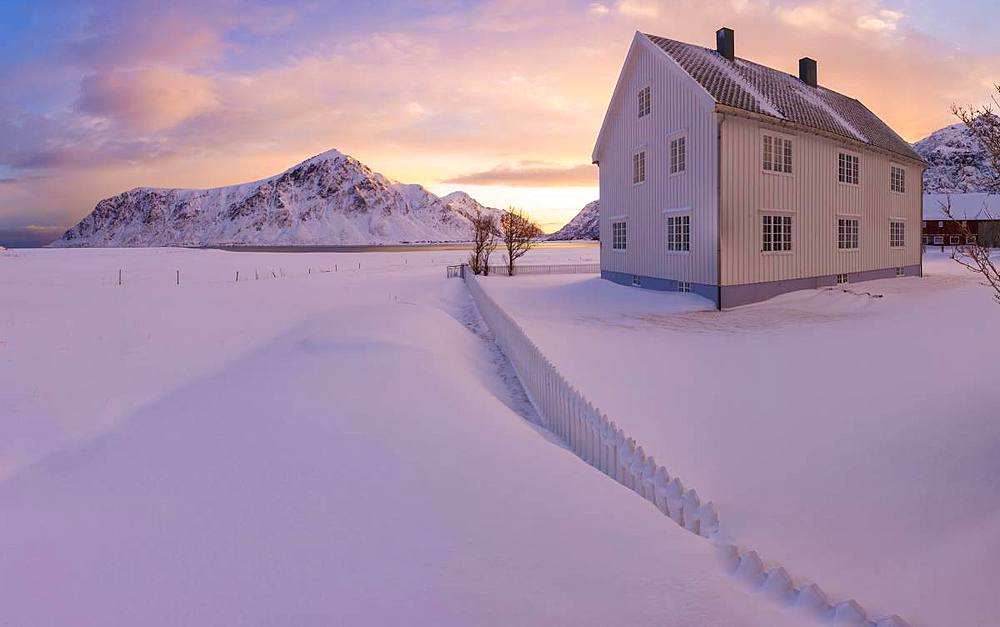 Panoramic view of traditional house, Flakstad, Lofoten Islands, Nordland, Norway, Europe