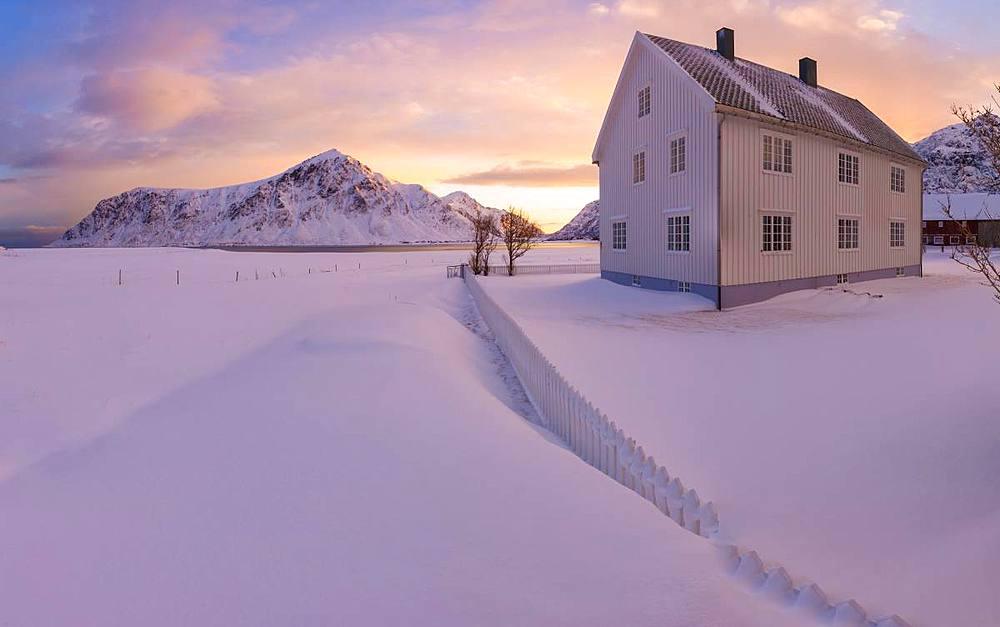 Panoramic view of traditional house, Flakstad, Lofoten Islands, Nordland, Norway, Europe - 1179-3371