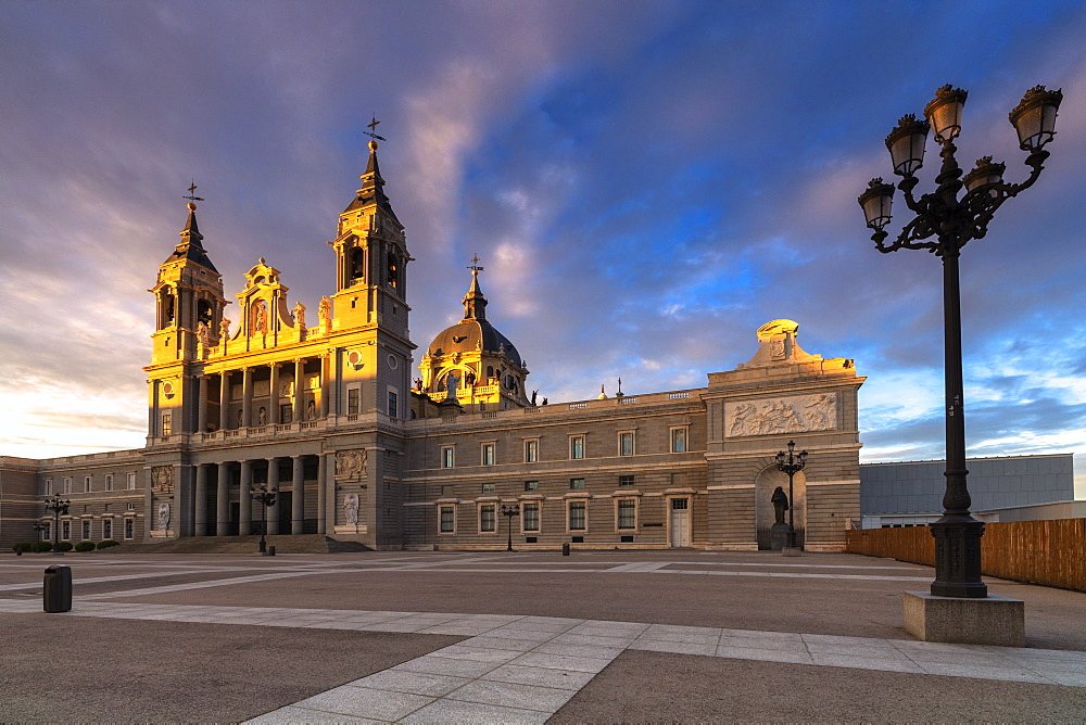 Almudena Cathedral, (Catedral de La Almudena) at sunrise, Madrid, Spain