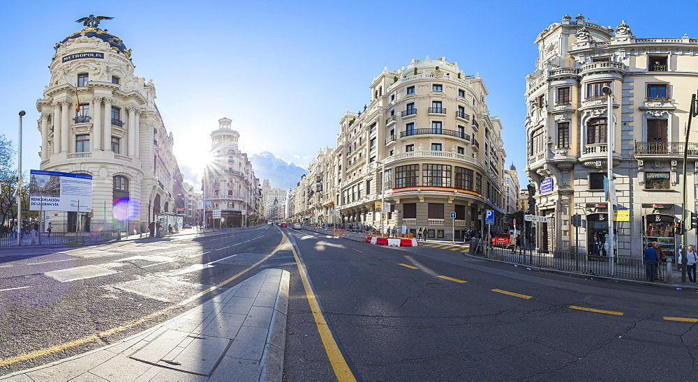 Panoramic of historical buildings at corner of Calle de Alcala and Calle Gran Via, Madrid, Spain