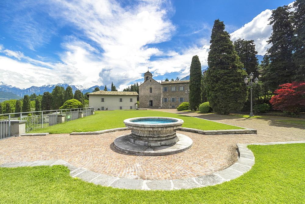 Gardens and facade of Piona Abbey (Abbazia Priorato di Piona), Colico, Lecco province, Lombardy, Italy, Europe
