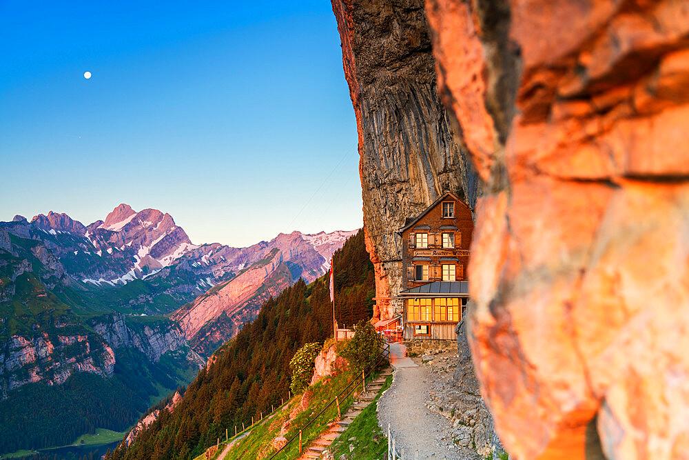 Aescher-Wildkirchli Gasthaus at dusk, Ebenalp, Appenzell Innerrhoden, Switzerland - 1179-3515