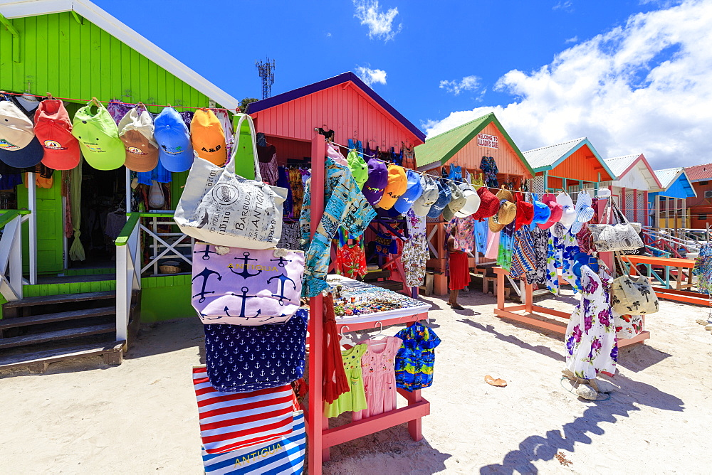 Tourist souvenir shops, Long Bay Beach, Antigua, Antigua and Barbuda, Leeward Islands, West Indies, Caribbean, Central America