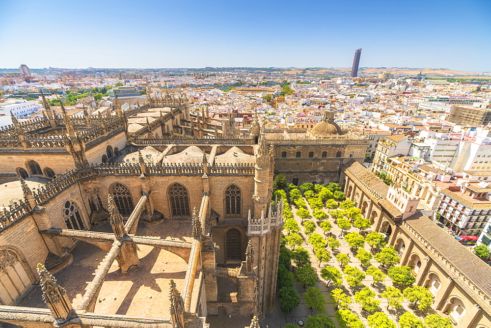 Overview of Seville Cathedral and Patio De Los Naranjos from the Giralda bell tower, UNESCO World Heritage Site, Seville, Andalusia, Spain, Europe