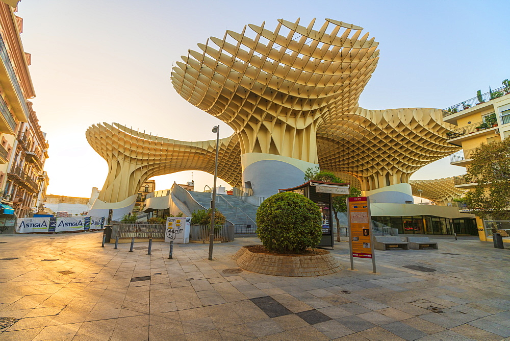 Plaza Mayor, the lower level of the Metropol Parasol, Plaza de la Encarnacion, Seville, Andalusia, Spain, Europe