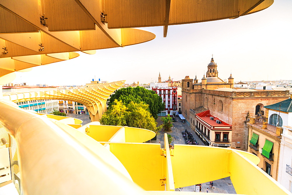 Church of the Annunciation seen from the Metropol Parasol, Plaza de la Encarnacion, Seville, Andalusia, Spain, Europe
