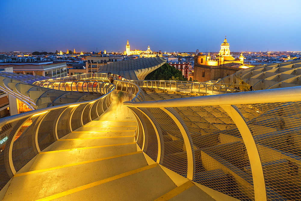 Illuminated spiral shape walkways on rooftop of the Metropol Parasol, Plaza de la Encarnacion, Seville, Andalusia, Spain, Europe