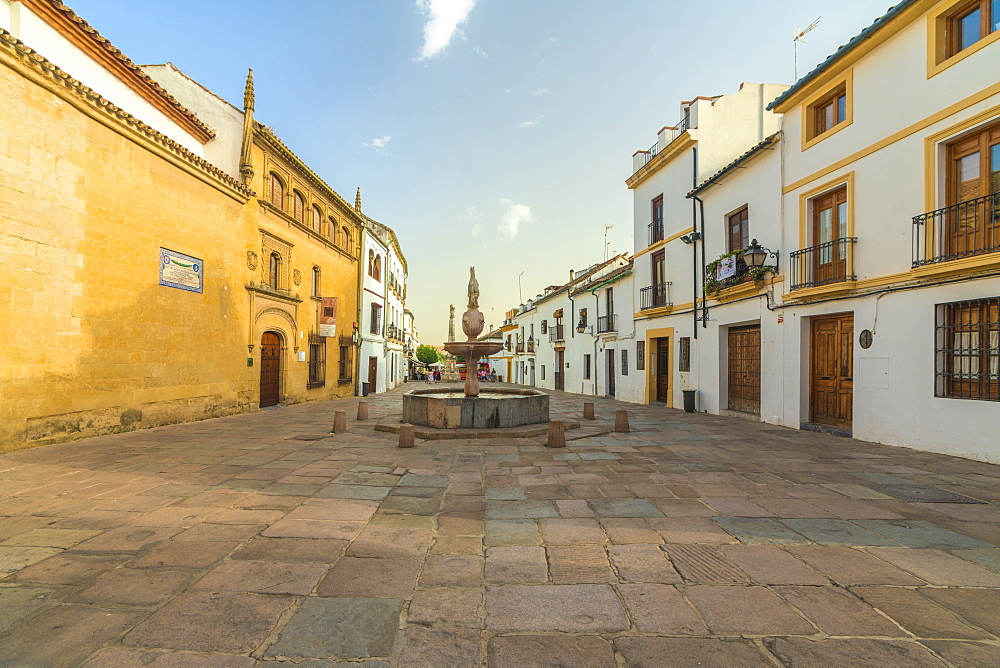 Renaissance Fountain (Fuente del Potro) and Posada del Potro, Plaza del Potro, Cordoba, Andalusia, Spain, Europe