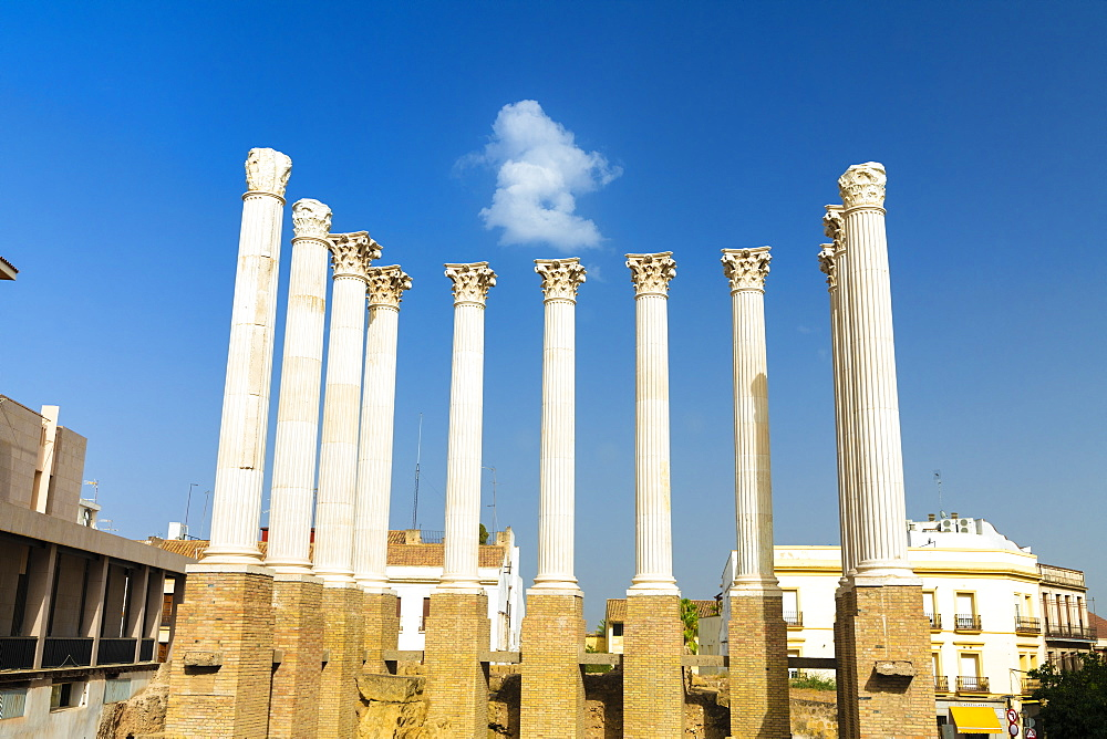 White marble columns and capitals of the ancient Roman Temple, Cordoba, Andalusia, Spain, Europe
