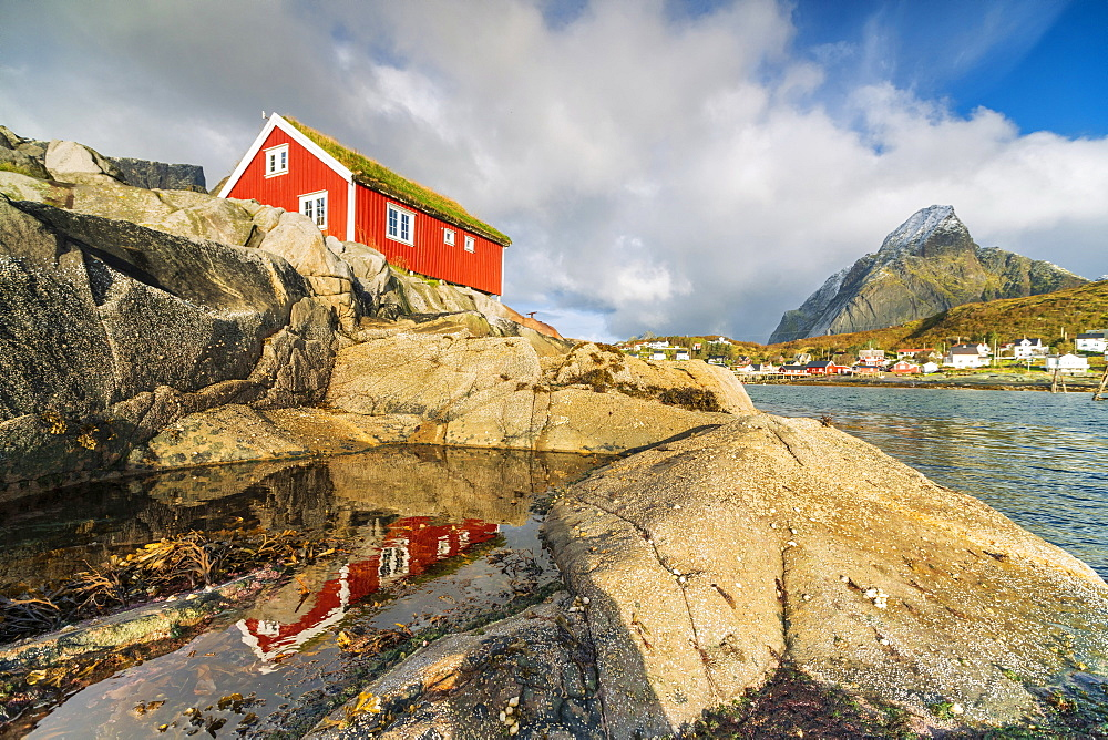 Red cabin by seaside rocks in Reine, Moskenes, Nordland, Lofoten Islands, Norway, Europe