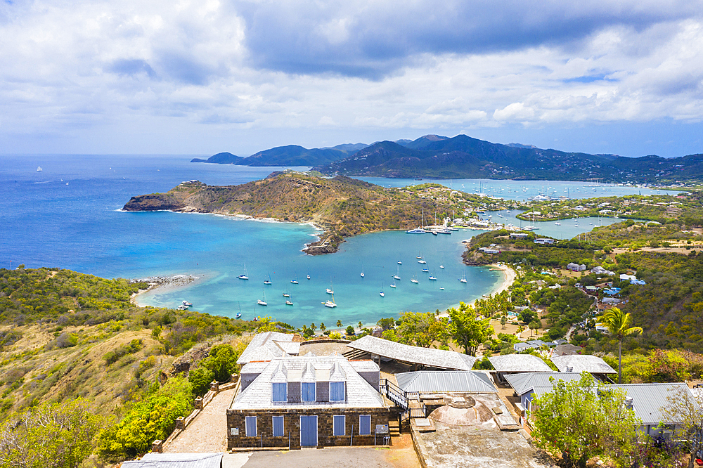 Aerial view by drone of Shirley Heights belvedere with Galleon Beach and English Harbour in background, Antigua, Caribbean, (drone)