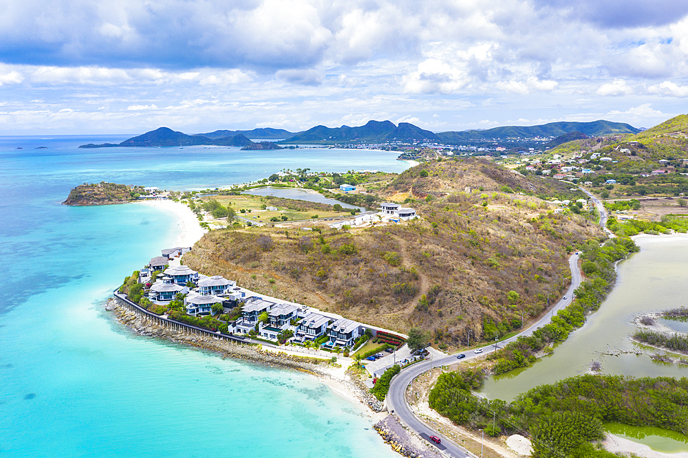 Aerial view by drone of Tamarind Hills luxury hotel ocean front and Ffryes Bay, Antigua, Antigua and Barbuda, Leeward Islands, West Indies, Caribbean, Central America