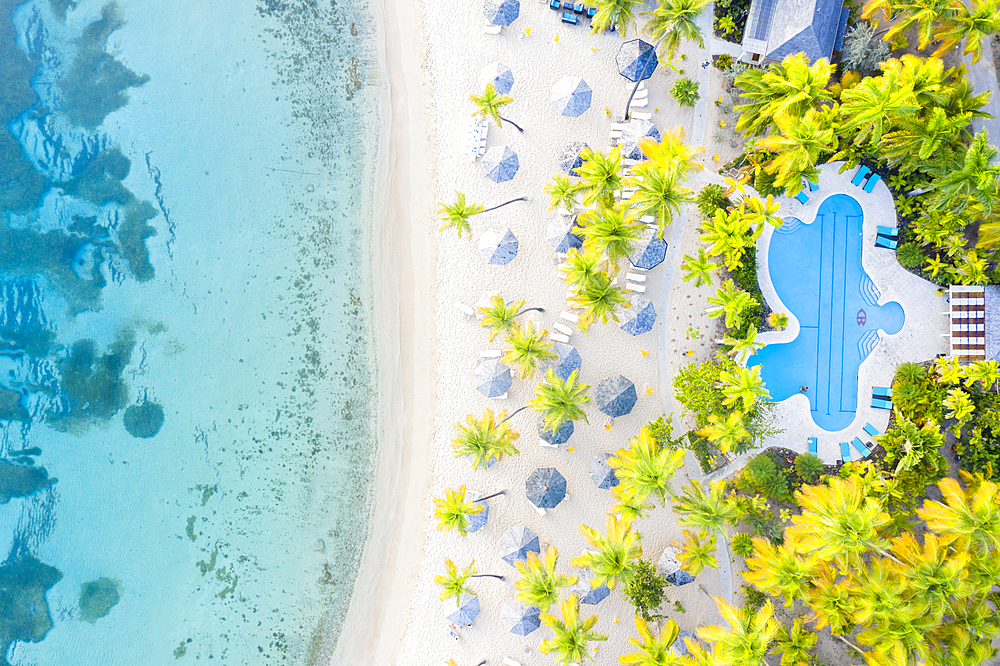 Swimming pool and beach umbrellas on white sand beach from above by drone, Morris Bay, Old Road, Antigua, Leeward Islands, West Indies, Caribbean, Central America