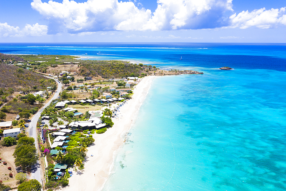 Aerial view by drone of tropical white sand of Turners Beach, Antigua, Antigua and Barbuda, Leeward Islands, West Indies, Caribbean, Central America