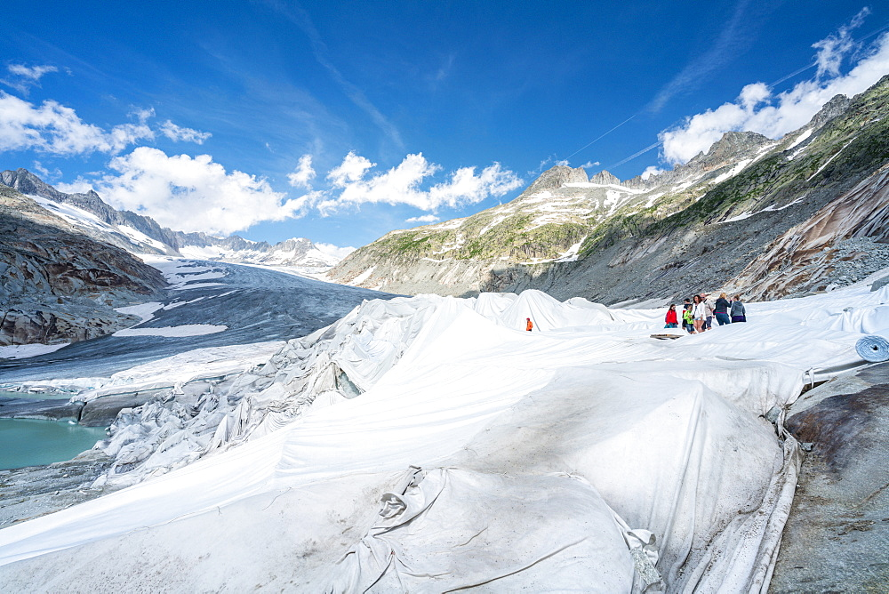 Rhone Glacier covered with white blankets to prevent extreme melting due to climate change, Gletsch, Canton of Valais, Switzerland, Europe