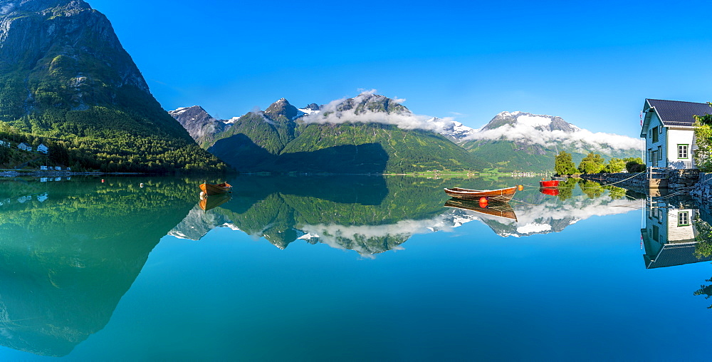 Panoramic of mountains reflected in the clear water of Oppstrynsvatn lake, Hjelle, Oppstryn, Sogn og Fjordane county, Norway, Scandinavia, Europe - 1179-4070