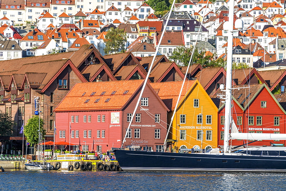 Sail boat on waterfront of Bryggen Old Town, UNESCO World Heritage Site, Bergen, Hordaland County, Norway, Scandinavia, Europe - 1179-4100