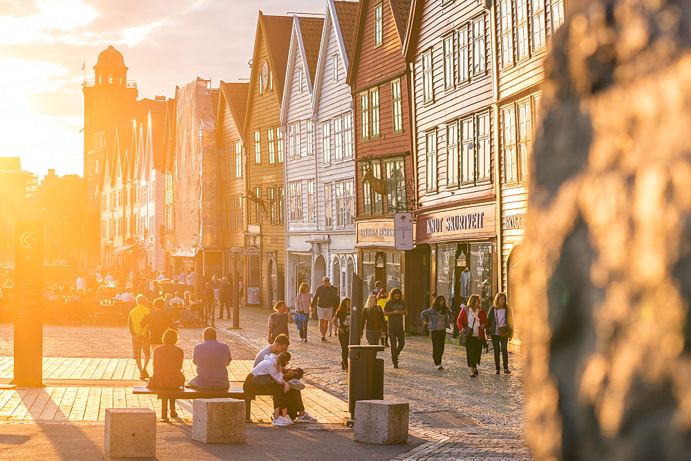 Tourists in Bryggen Old Town at sunset, UNESCO World Heritage Site, Bergen, Hordaland County, Norway, Scandinavia, Europe - 1179-4101