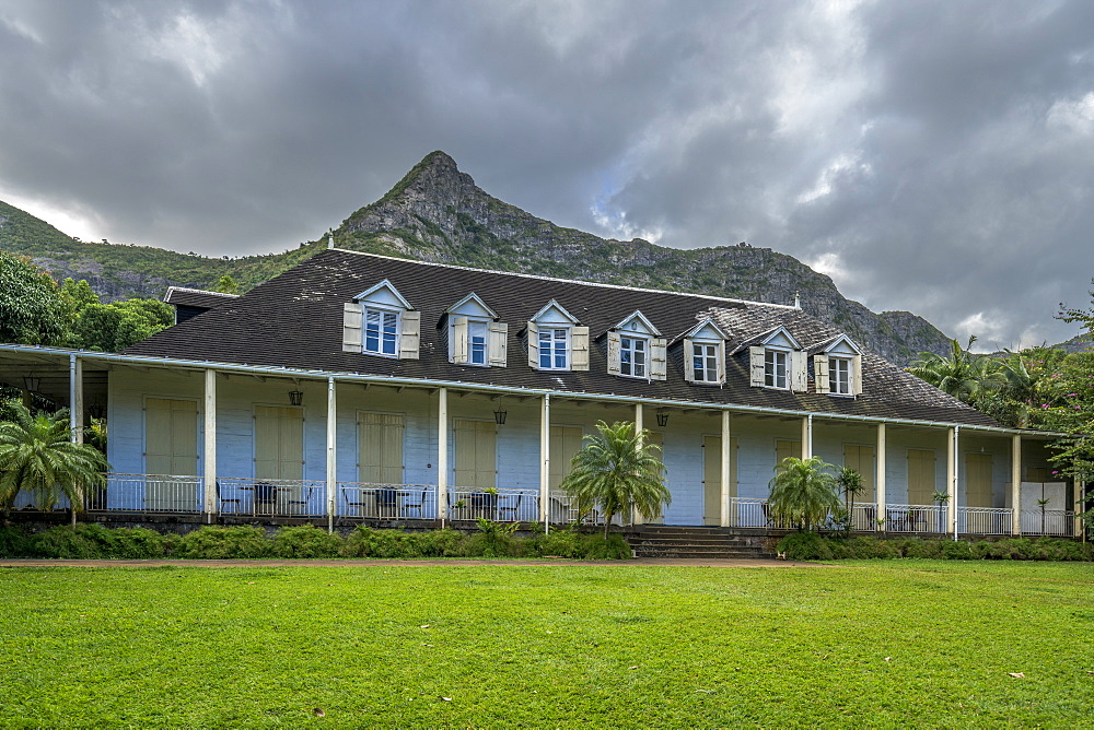 Clouds on mountains over Eureka La Maison Creole house and garden, Moka, Mauritius, Indian Ocean, Africa
