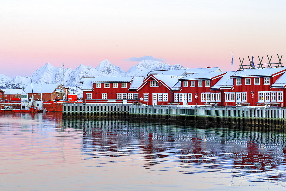 Pink sunset over the typical red houses reflected in the sea, Svolvaer, Lofoten Islands, Norway, Arctic, Scandinavia, Europe