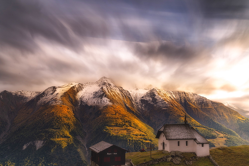 Fairy tale landscape during the autumn sunset over Bettmeralp, canton of Valais, Switzerland