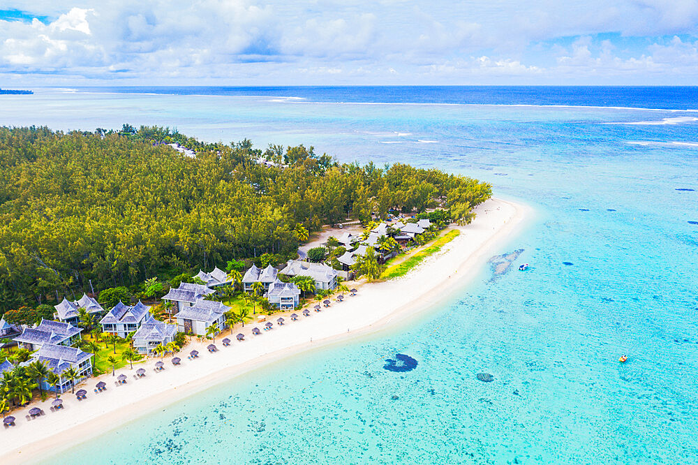 Aerial view by drone of luxury tourist resort on white sand beach, Flic en Flac, Black River district, Mauritius, Indian Ocean, Africa