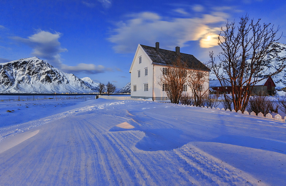 Typical house surrounded by snow on a cold winter day at dusk, Flakstad, Lofoten Islands, Norway, Scandinavia, Europe