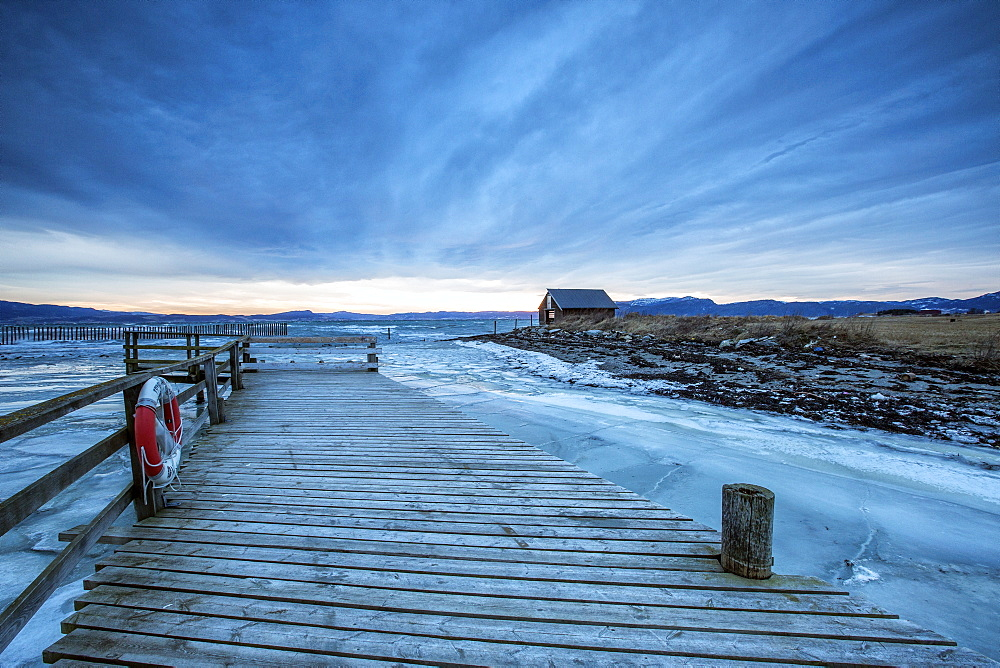 The wooden deck in the icy sea, Kystensarv, Trondelag, Norway, Scandinavia, Europe