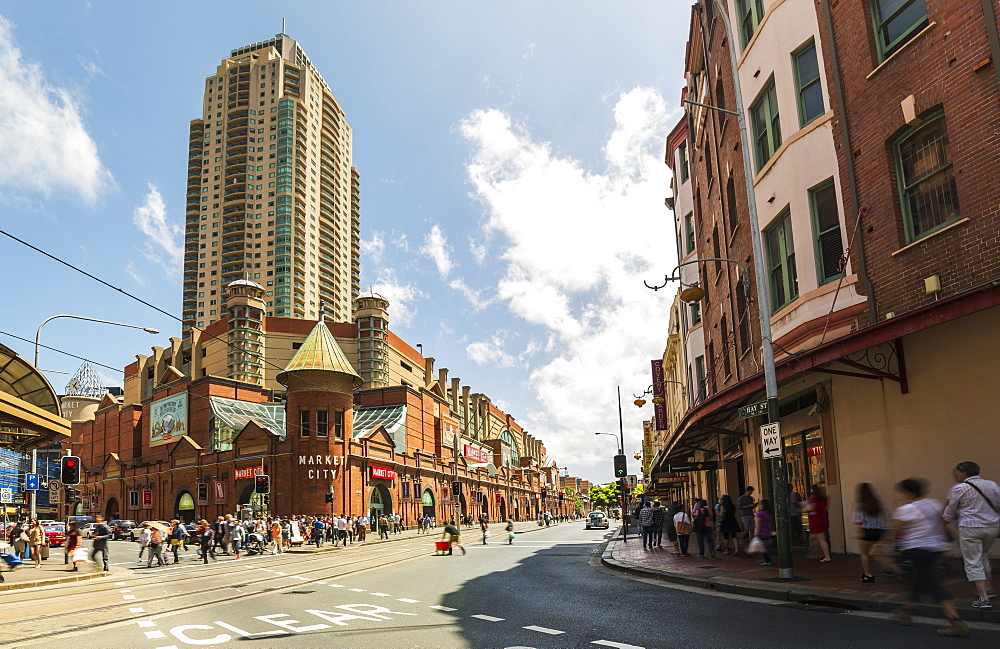 Famous Market city building in Sydney with people around walking, Sydney, New South Wales, Australia, Pacific