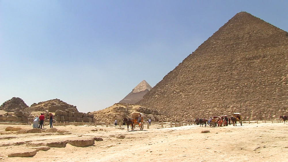 Pan from the desert, Giza Plateau to Pyramid of Khufu the Pyramid of Khafre in background, The Great Pyramid of Giza, Egypt, Africa - 1182-110