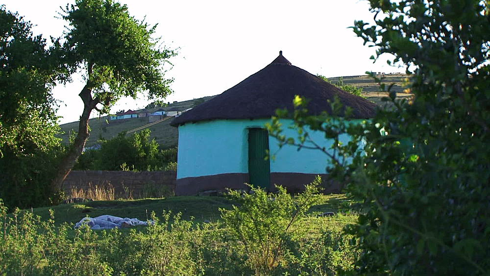Traditional African hut, house, rondavel in rural Lesotho highlands, Lesotho, Africa