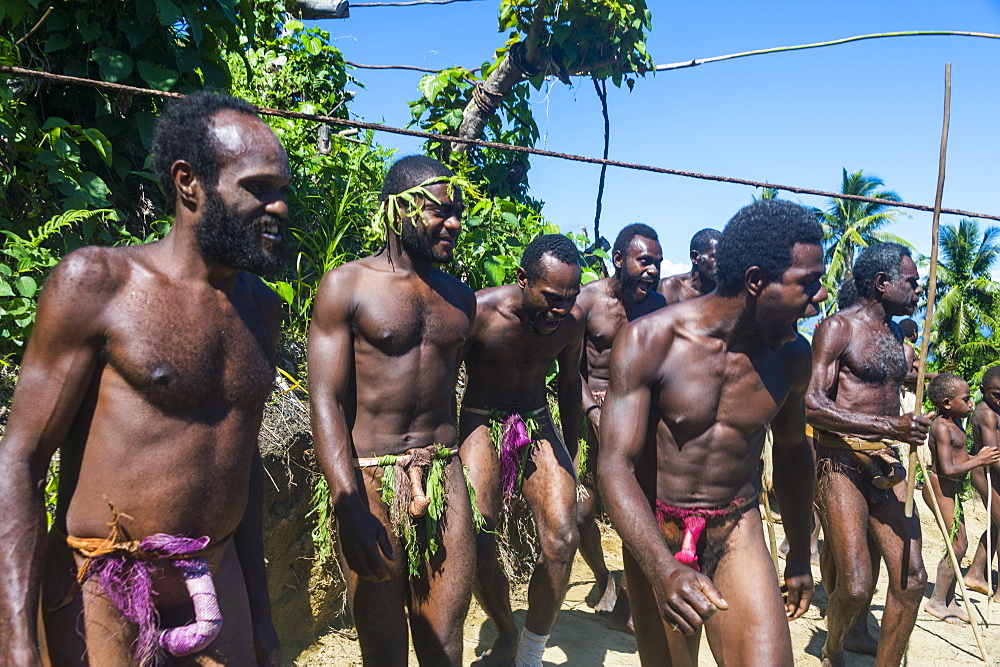 Men dancing in preparation for the Pentecost land diving, Pentecost, Vanuatu, Pacific