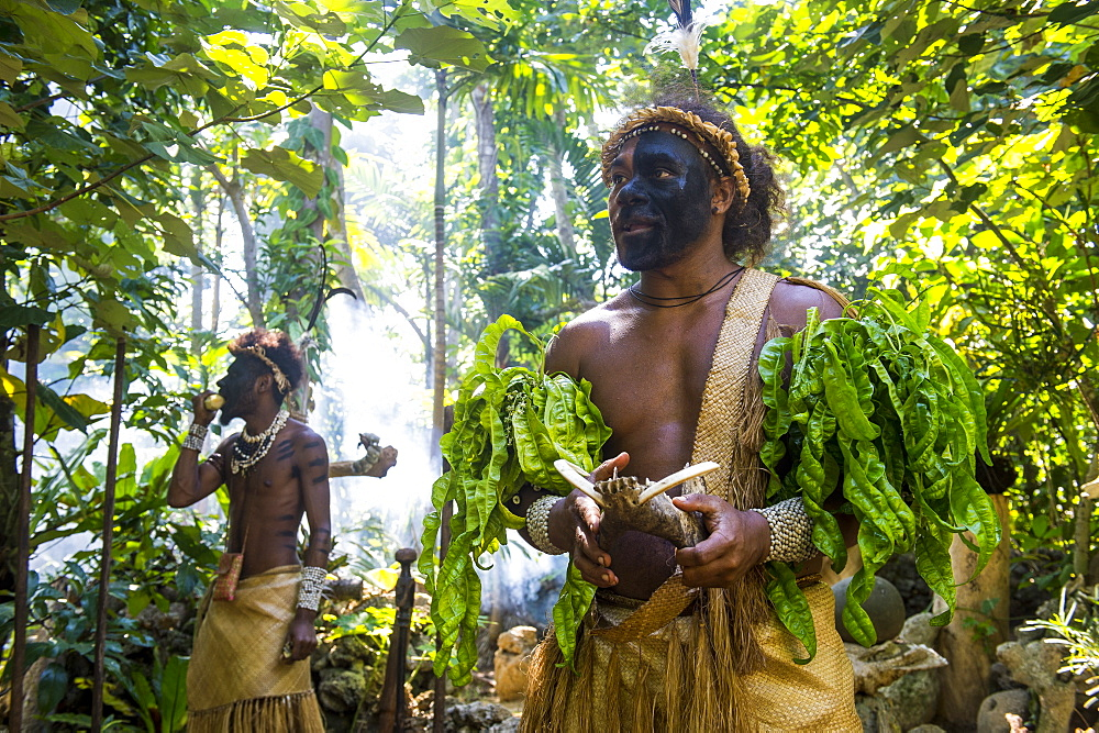 Traditional dressed man in the jungle,, Ekasup cultural village, Efate, Vanuatu