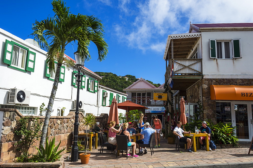 Open air cafe in Windwardside, Saba, Netherland Antilles, West Indies, Caribbean, Central America